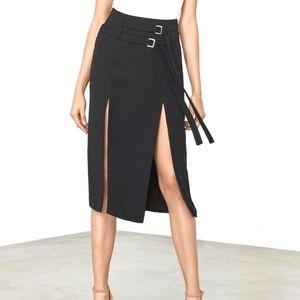 NWT Lavish Alice Black Double Split Midi Skirt 8